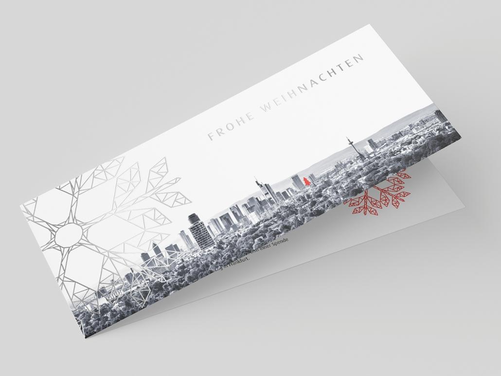 Gestaltung und Druck einer Weihnachtskarte mit Silberdruck für die Wirtschaftsförderung Frankfurt
