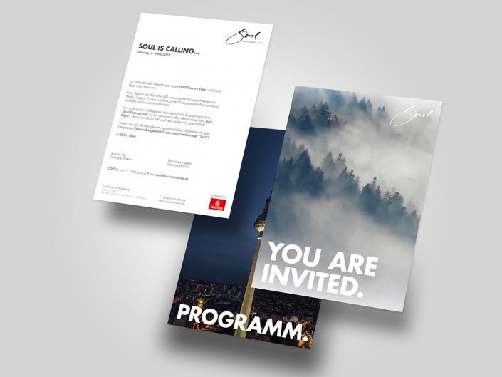 Gestaltung und Druck von Einladungskarten für Soul