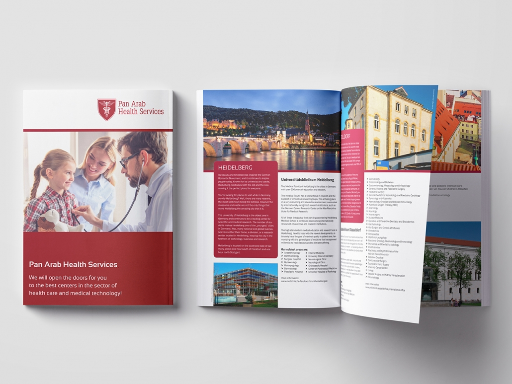 Gestaltung und Druck einer Broschüre für Pan Arab Health Services