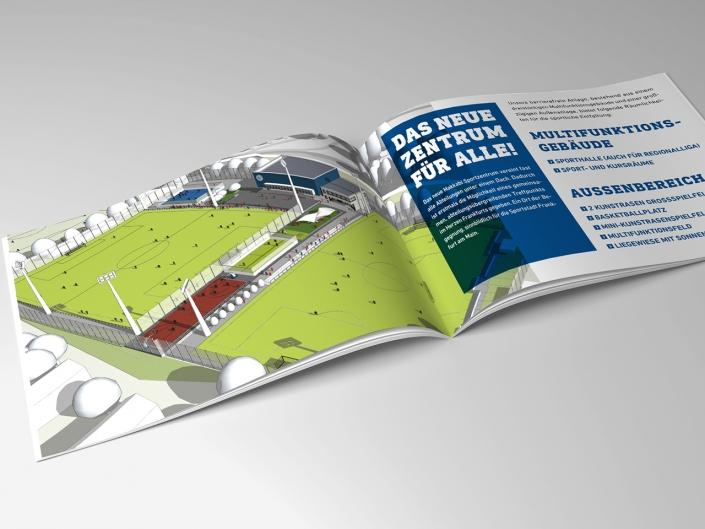 Gestaltung und Druck einer Broschüre für das neue Sportzentrum von Makkabi Frankfurt