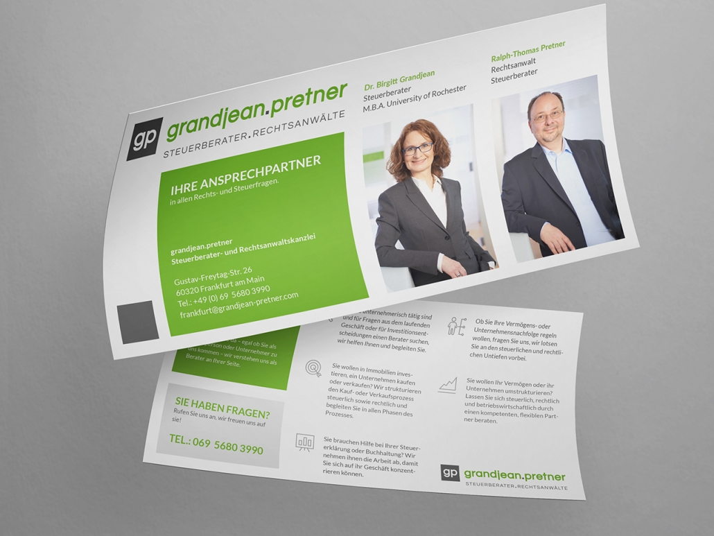 Gestaltung und Druck eines Flyers für das Rechtsanwaltsbüro grandjean.pretner