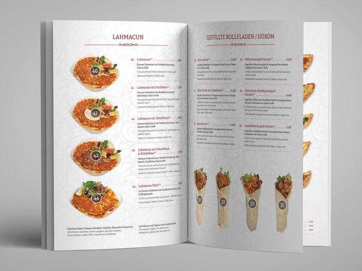 Gestaltung und Druck einer Speisekarte für das Restaurant Doy Doy
