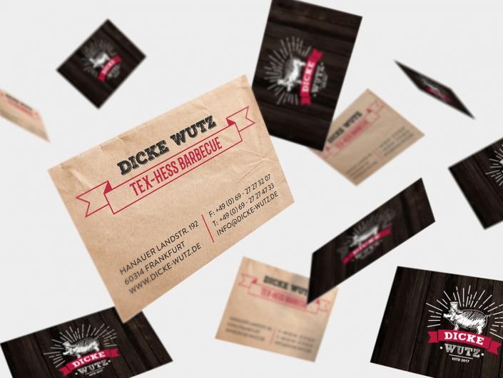 Gestaltung und Druck von neuen Visitenkarten für Dicke Wutz in Frankfurt